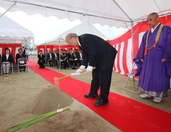 大江町中央公民館の安全祈願祭が行われました。